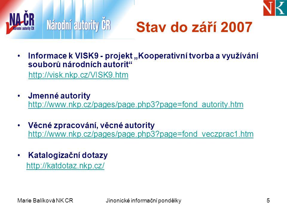 """Marie Balíková NK CRJinonické informační pondělky5 Stav do září 2007 Informace k VISK9 - projekt """"Kooperativní tvorba a využívání souborů národních autorit http://visk.nkp.cz/VISK9.htm Jmenné autority http://www.nkp.cz/pages/page.php3 page=fond_autority.htm http://www.nkp.cz/pages/page.php3 page=fond_autority.htm Věcné zpracování, věcné autority http://www.nkp.cz/pages/page.php3 page=fond_veczprac1.htm http://www.nkp.cz/pages/page.php3 page=fond_veczprac1.htm Katalogizační dotazy http://katdotaz.nkp.cz/"""