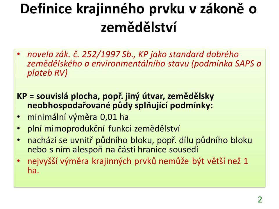 Definice krajinného prvku v zákoně o zemědělství novela zák. č. 252/1997 Sb., KP jako standard dobrého zemědělského a environmentálního stavu (podmínk