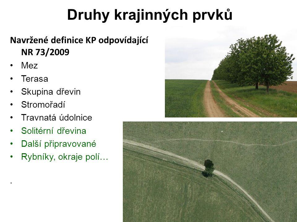 Druhy krajinných prvků Navržené definice KP odpovídající NR 73/2009 Mez Terasa Skupina dřevin Stromořadí Travnatá údolnice Solitérní dřevina Další připravované Rybníky, okraje polí….