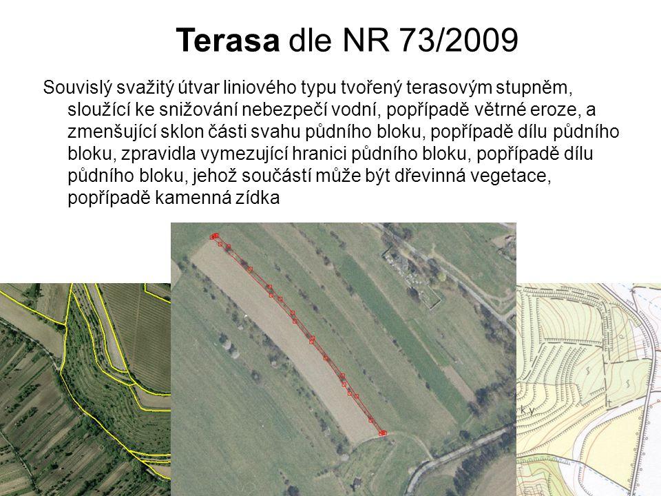 Terasa dle NR 73/2009 Souvislý svažitý útvar liniového typu tvořený terasovým stupněm, sloužící ke snižování nebezpečí vodní, popřípadě větrné eroze,