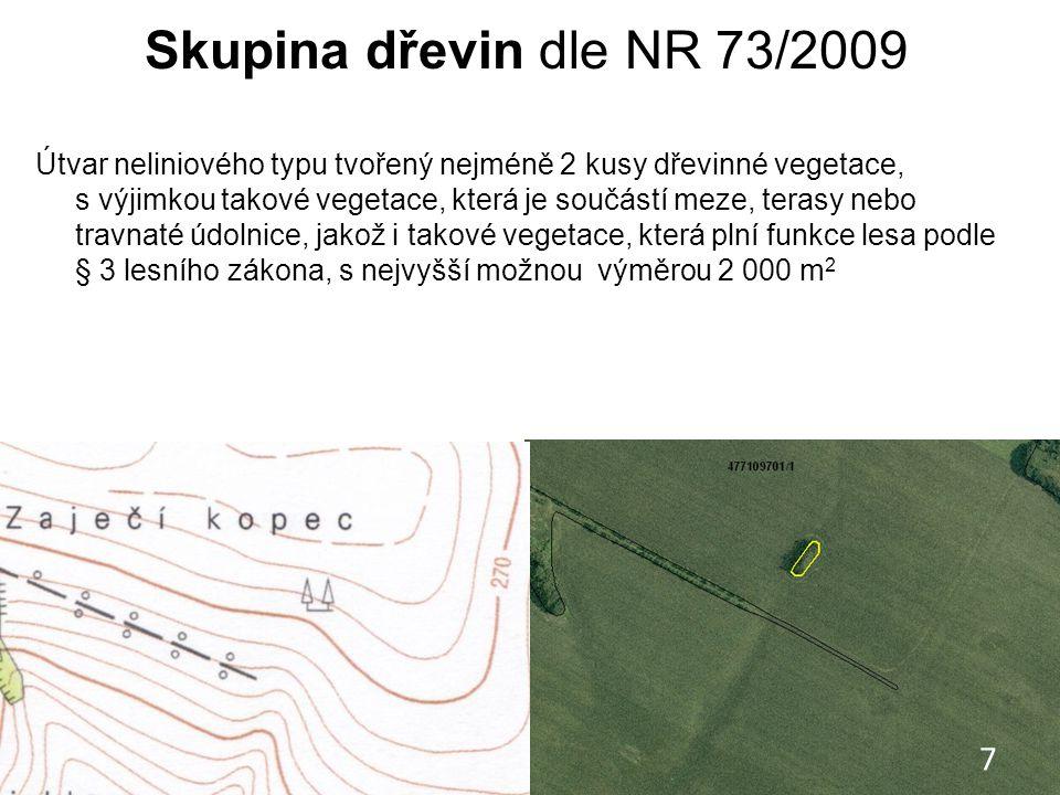 Skupina dřevin dle NR 73/2009 Útvar neliniového typu tvořený nejméně 2 kusy dřevinné vegetace, s výjimkou takové vegetace, která je součástí meze, ter