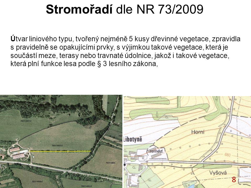 Stromořadí dle NR 73/2009 Útvar liniového typu, tvořený nejméně 5 kusy dřevinné vegetace, zpravidla s pravidelně se opakujícími prvky, s výjimkou takové vegetace, která je součástí meze, terasy nebo travnaté údolnice, jakož i takové vegetace, která plní funkce lesa podle § 3 lesního zákona, 8