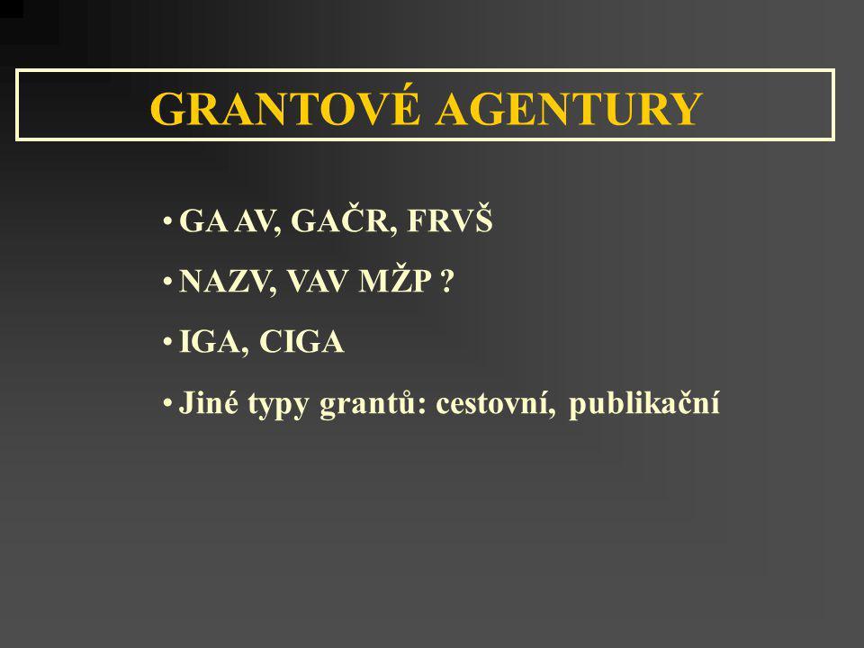 GA AV, GAČR, FRVŠ NAZV, VAV MŽP ? IGA, CIGA Jiné typy grantů: cestovní, publikační GRANTOVÉ AGENTURY