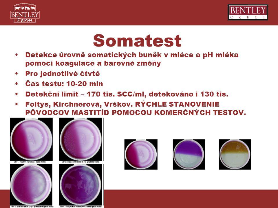Somatest Detekce úrovně somatických buněk v mléce a pH mléka pomocí koagulace a barevné změny Pro jednotlivé čtvtě Čas testu: 10-20 min Detekční limit