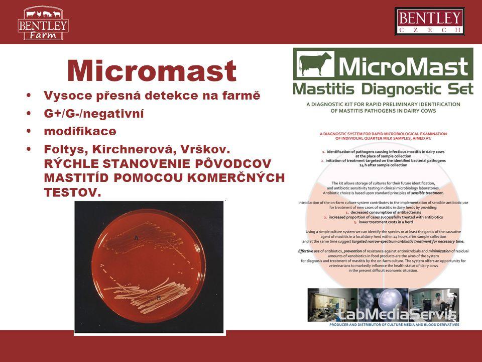 Micromast Vysoce přesná detekce na farmě G+/G-/negativní modifikace Foltys, Kirchnerová, Vrškov. RÝCHLE STANOVENIE PÔVODCOV MASTITÍD POMOCOU KOMERČNÝC