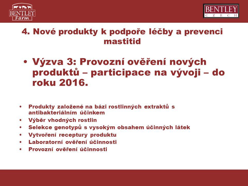 4. Nové produkty k podpoře léčby a prevenci mastitid Produkty založené na bázi rostlinných extraktů s antibakteriálním účinkem Výběr vhodných rostlin