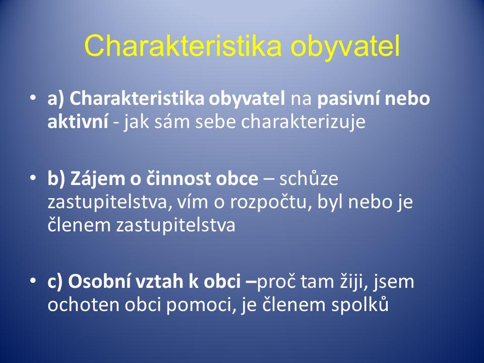 Charakteristika obyvatel a) Charakteristika obyvatel na pasivní nebo aktivní - jak sám sebe charakterizuje b) Zájem o činnost obce – schůze zastupitel
