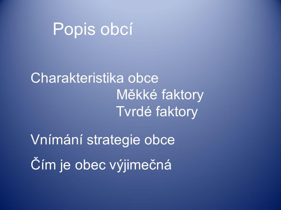 Charakteristika obce Měkké faktory Tvrdé faktory Vnímání strategie obce Čím je obec výjimečná Popis obcí