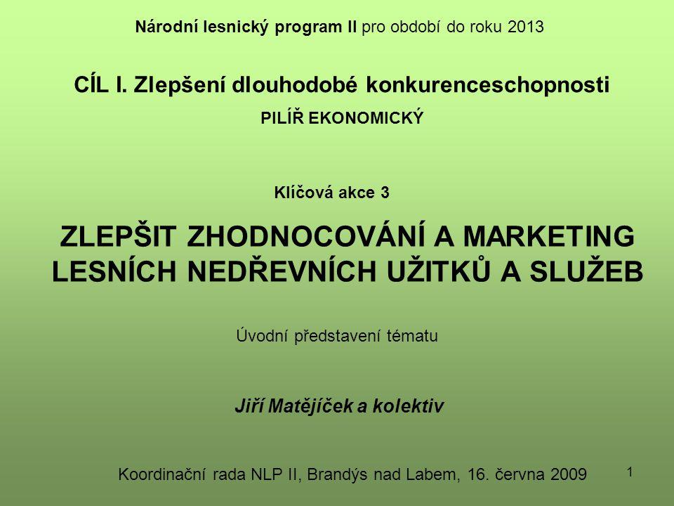 22 Základní koncepční rozhodnutí: aktivní rozvoj trhů zabezpečení managementu multifunkčních lesů (FILH) zpracování marketingových nástrojů akceptace nových produktů a služeb ze strany veřejnosti