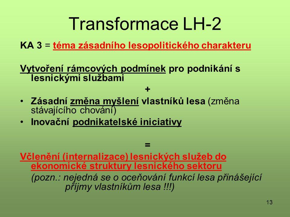 13 Transformace LH-2 KA 3 = téma zásadního lesopolitického charakteru Vytvoření rámcových podmínek pro podnikání s lesnickými službami + Zásadní změna myšlení vlastníků lesa (změna stávajícího chování) Inovační podnikatelské iniciativy = Včlenění (internalizace) lesnických služeb do ekonomické struktury lesnického sektoru (pozn.: nejedná se o oceňování funkcí lesa přinášející příjmy vlastníkům lesa !!!)