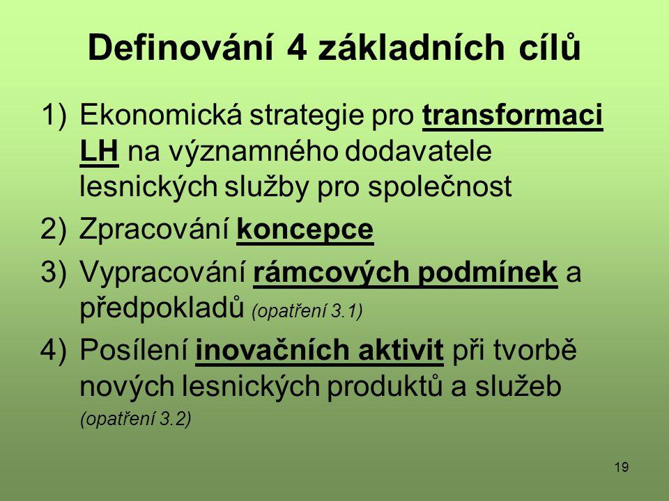 19 Definování 4 základních cílů 1)Ekonomická strategie pro transformaci LH na významného dodavatele lesnických služby pro společnost 2)Zpracování koncepce 3)Vypracování rámcových podmínek a předpokladů (opatření 3.1) 4)Posílení inovačních aktivit při tvorbě nových lesnických produktů a služeb (opatření 3.2)