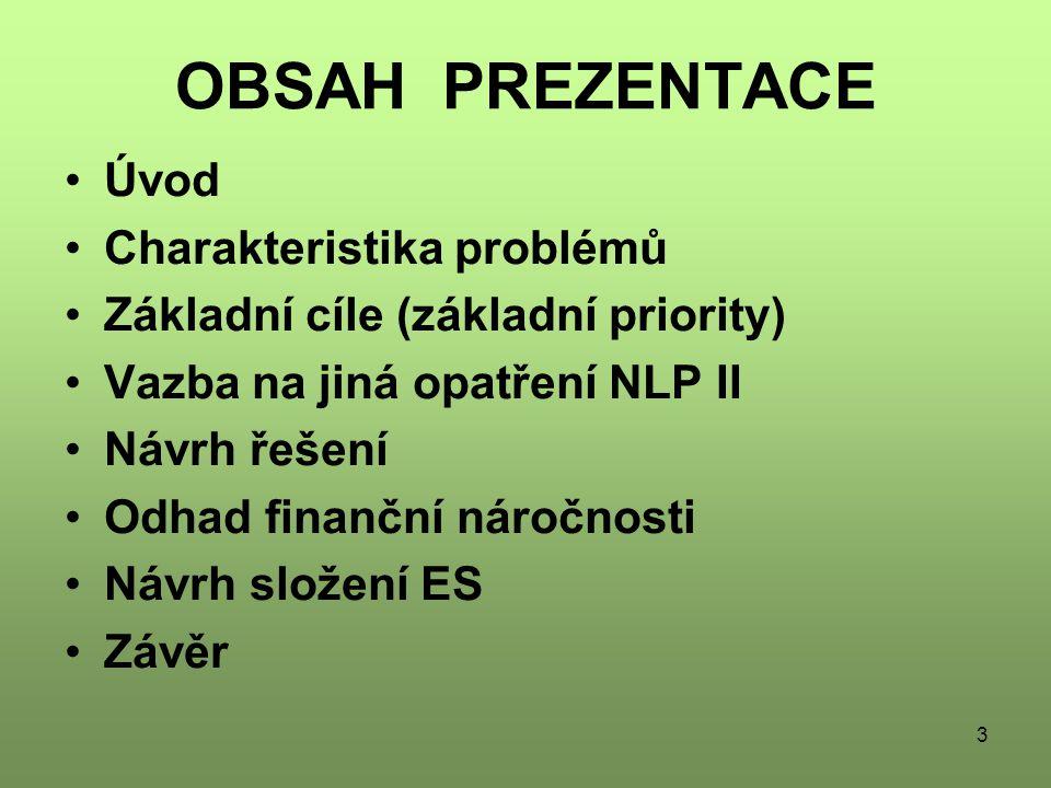 3 OBSAH PREZENTACE Úvod Charakteristika problémů Základní cíle (základní priority) Vazba na jiná opatření NLP II Návrh řešení Odhad finanční náročnosti Návrh složení ES Závěr