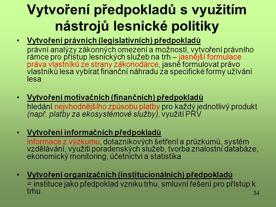 34 Vytvoření předpokladů s využitím nástrojů lesnické politiky Vytvoření právních (legislativních) předpokladů právní analýzy zákonných omezení a možností, vytvoření právního rámce pro přístup lesnických služeb na trh – jasnější formulace práva vlastníků ze strany zákonodárce, jasně formulovat právo vlastníků lesa vybírat finanční náhradu za specifické formy užívání lesa Vytvoření motivačních (finančních) předpokladů hledání nejvhodnějšího způsobu platby pro každý jednotlivý produkt (např.