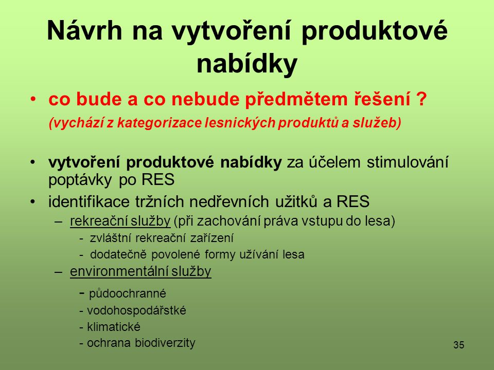 35 Návrh na vytvoření produktové nabídky co bude a co nebude předmětem řešení .