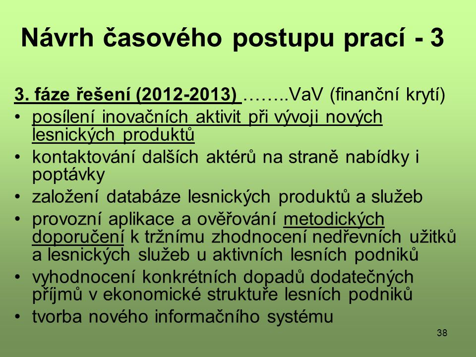 38 Návrh časového postupu prací - 3 3.