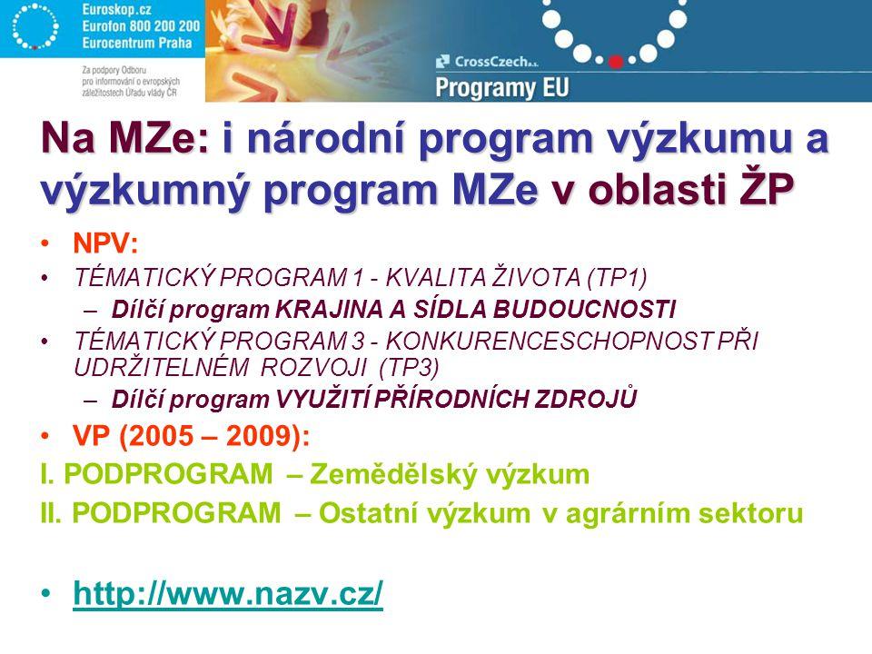 Na MZe: i národní program výzkumu a výzkumný program MZe v oblasti ŽP NPV: TÉMATICKÝ PROGRAM 1 - KVALITA ŽIVOTA (TP1) –Dílčí program KRAJINA A SÍDLA BUDOUCNOSTI TÉMATICKÝ PROGRAM 3 - KONKURENCESCHOPNOST PŘI UDRŽITELNÉM ROZVOJI (TP3) –Dílčí program VYUŽITÍ PŘÍRODNÍCH ZDROJŮ VP (2005 – 2009): I.