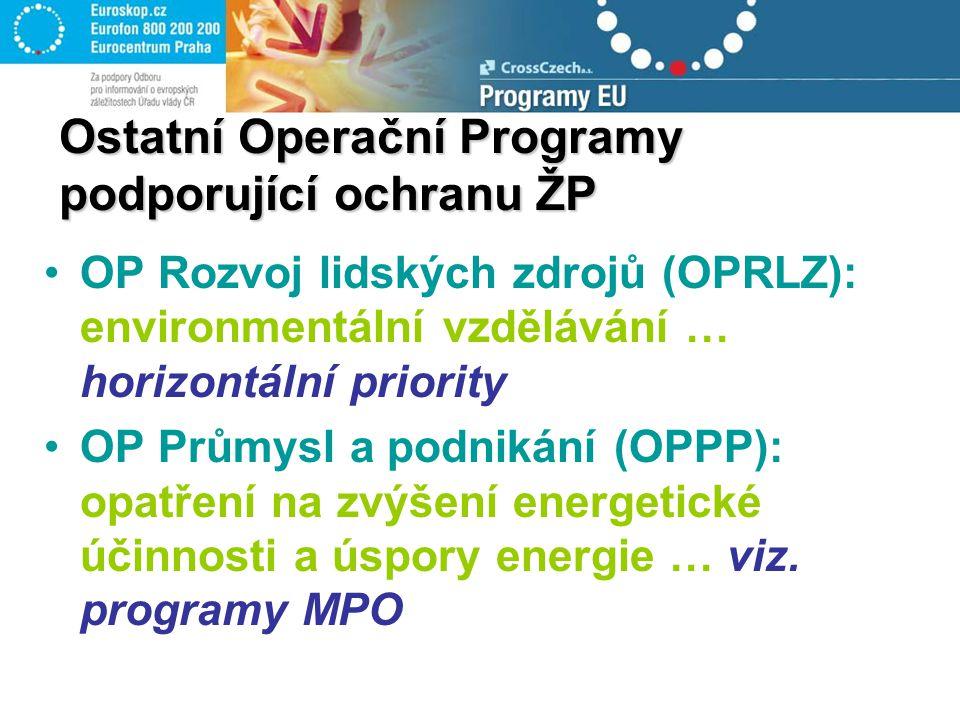 OP Rozvoj lidských zdrojů (OPRLZ): environmentální vzdělávání … horizontální priority OP Průmysl a podnikání (OPPP): opatření na zvýšení energetické účinnosti a úspory energie … viz.