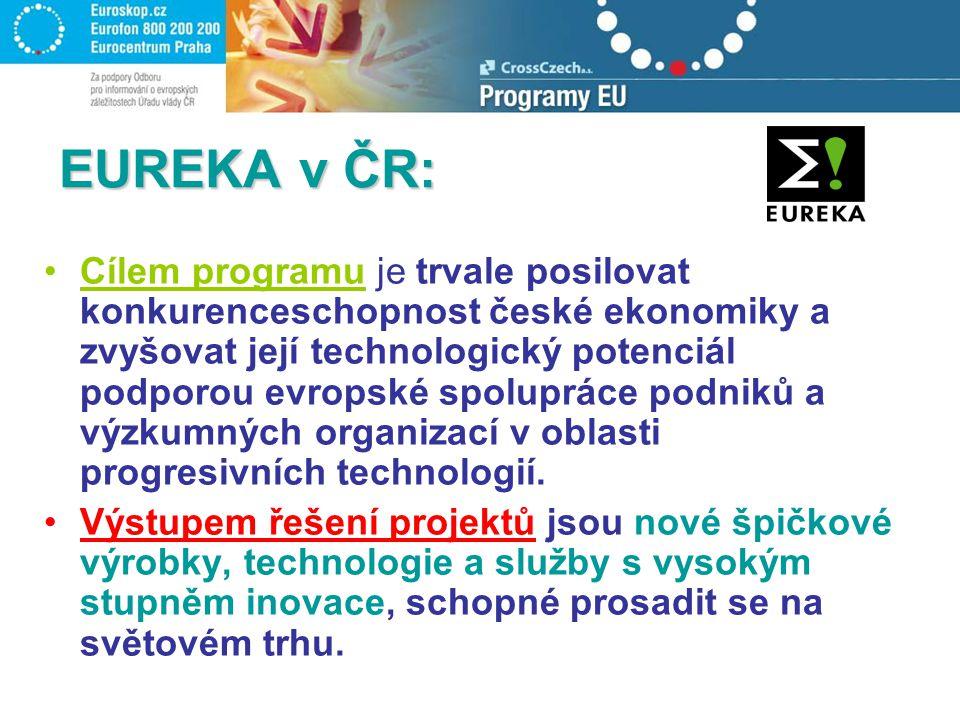 EUREKA v ČR: Cílem programu je trvale posilovat konkurenceschopnost české ekonomiky a zvyšovat její technologický potenciál podporou evropské spolupráce podniků a výzkumných organizací v oblasti progresivních technologií.