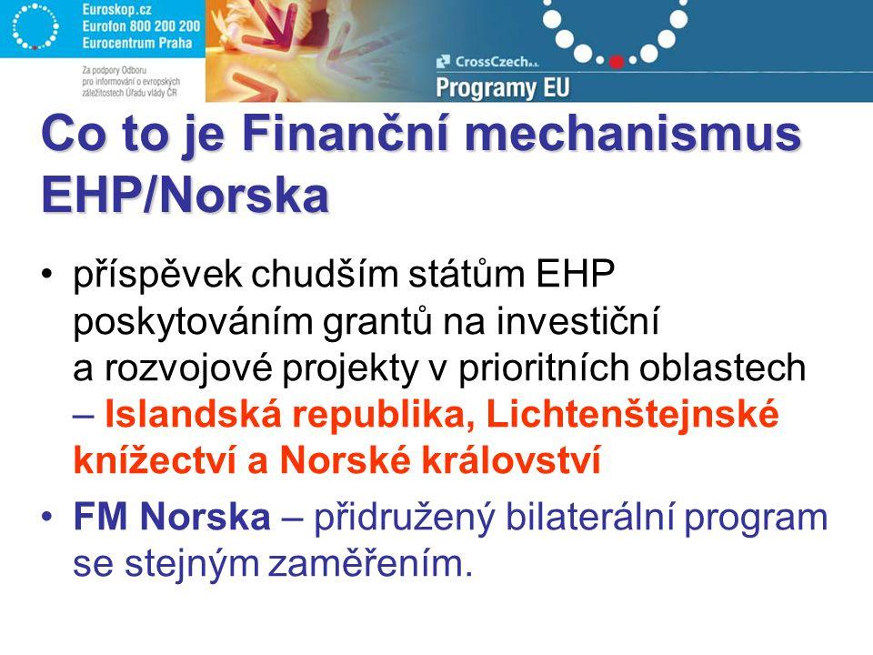 Co to je Finanční mechanismus EHP/Norska příspěvek chudším státům EHP poskytováním grantů na investiční a rozvojové projekty v prioritních oblastech – Islandská republika, Lichtenštejnské knížectví a Norské království FM Norska – přidružený bilaterální program se stejným zaměřením.