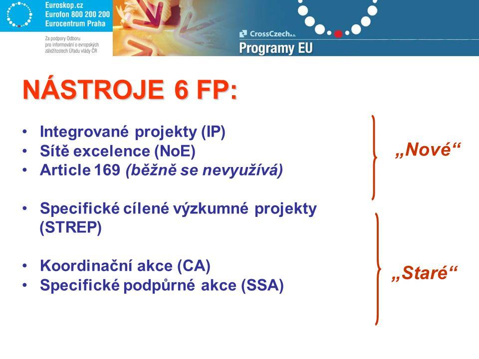 """NÁSTROJE 6 FP: Integrované projekty (IP) Sítě excelence (NoE) Article 169 (běžně se nevyužívá) Specifické cílené výzkumné projekty (STREP) Koordinační akce (CA) Specifické podpůrné akce (SSA) """"Nové """"Staré"""