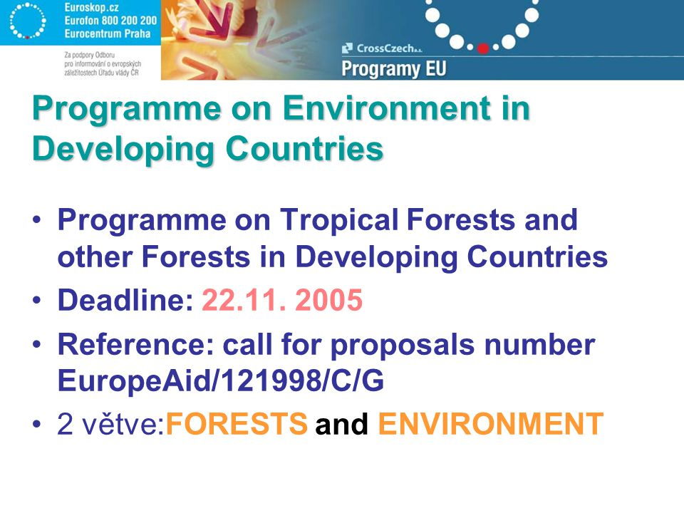 Programme on Environment in Developing Countries Programme on Tropical Forests and other Forests in Developing Countries Deadline: 22.11. 2005 Referen