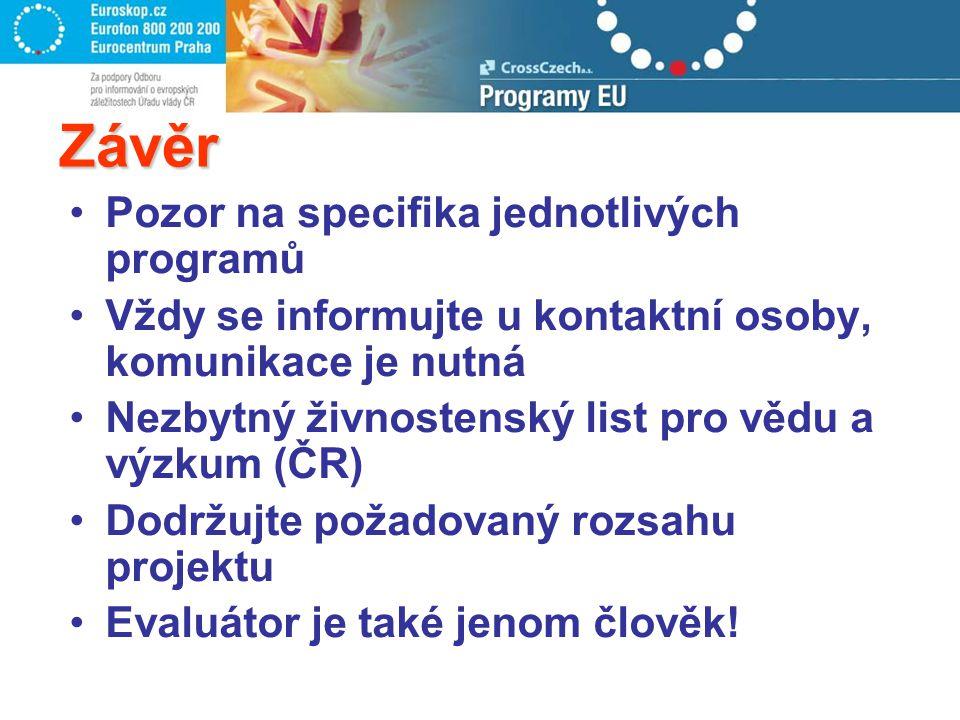 Závěr Pozor na specifika jednotlivých programů Vždy se informujte u kontaktní osoby, komunikace je nutná Nezbytný živnostenský list pro vědu a výzkum (ČR) Dodržujte požadovaný rozsahu projektu Evaluátor je také jenom člověk!