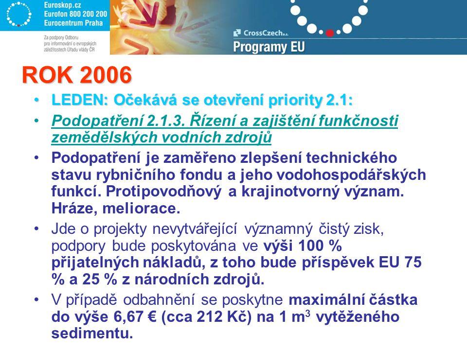 ROK 2006 LEDEN: Očekává se otevření priority 2.1:LEDEN: Očekává se otevření priority 2.1: Podopatření 2.1.3.