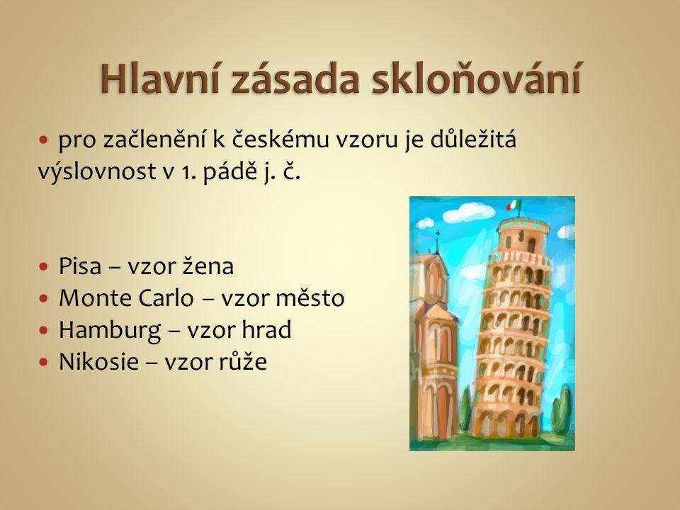 pro začlenění k českému vzoru je důležitá výslovnost v 1. pádě j. č. Pisa – vzor žena Monte Carlo – vzor město Hamburg – vzor hrad Nikosie – vzor růže