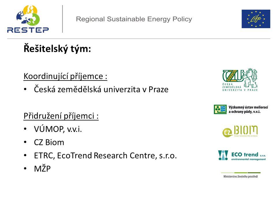 ReStEP – Project overview Řešitelský tým: Koordinující příjemce : Česká zemědělská univerzita v Praze Přidružení příjemci : VÚMOP, v.v.i.