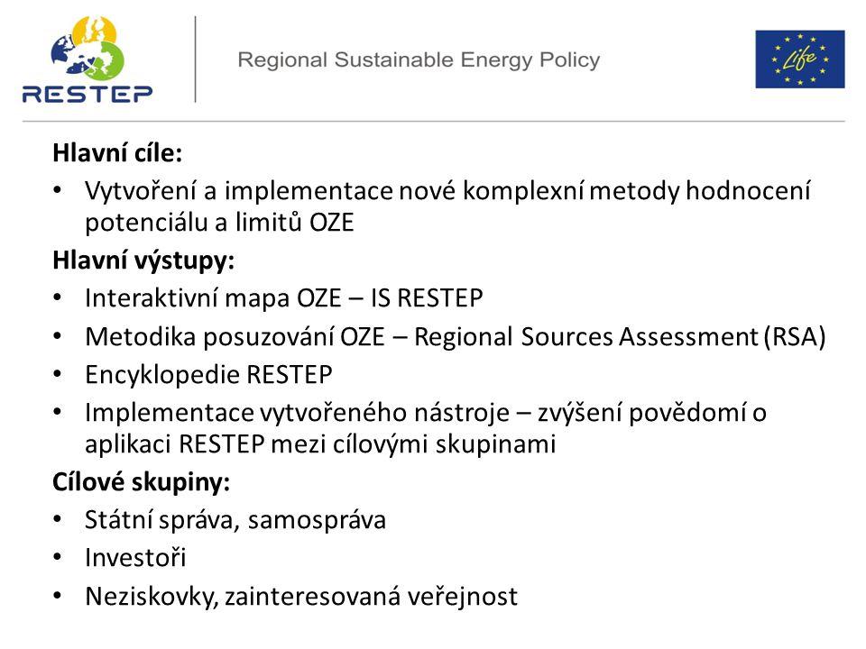 Hlavní cíle: Vytvoření a implementace nové komplexní metody hodnocení potenciálu a limitů OZE Hlavní výstupy: Interaktivní mapa OZE – IS RESTEP Metodika posuzování OZE – Regional Sources Assessment (RSA) Encyklopedie RESTEP Implementace vytvořeného nástroje – zvýšení povědomí o aplikaci RESTEP mezi cílovými skupinami Cílové skupiny: Státní správa, samospráva Investoři Neziskovky, zainteresovaná veřejnost