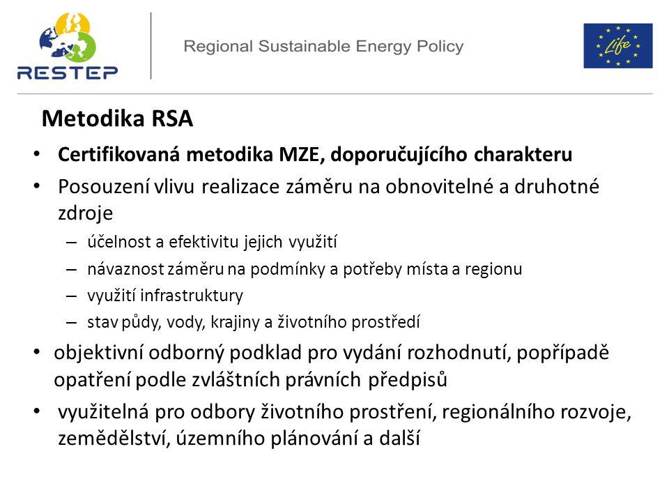 Certifikovaná metodika MZE, doporučujícího charakteru Posouzení vlivu realizace záměru na obnovitelné a druhotné zdroje – účelnost a efektivitu jejich využití – návaznost záměru na podmínky a potřeby místa a regionu – využití infrastruktury – stav půdy, vody, krajiny a životního prostředí objektivní odborný podklad pro vydání rozhodnutí, popřípadě opatření podle zvláštních právních předpisů využitelná pro odbory životního prostření, regionálního rozvoje, zemědělství, územního plánování a další Metodika RSA