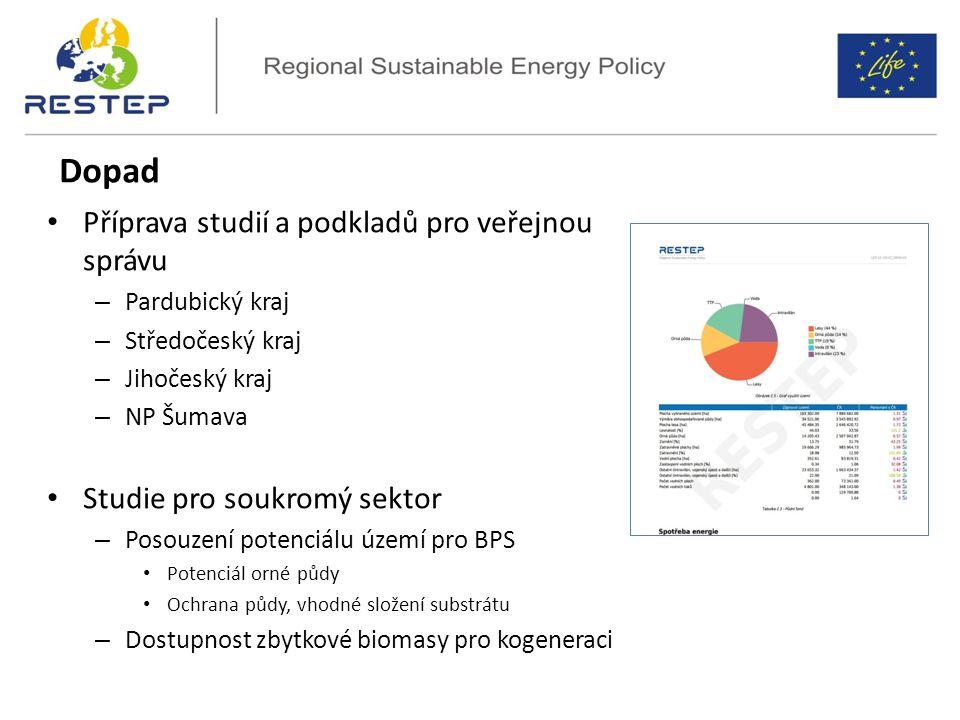 Dopad Příprava studií a podkladů pro veřejnou správu – Pardubický kraj – Středočeský kraj – Jihočeský kraj – NP Šumava Studie pro soukromý sektor – Posouzení potenciálu území pro BPS Potenciál orné půdy Ochrana půdy, vhodné složení substrátu – Dostupnost zbytkové biomasy pro kogeneraci
