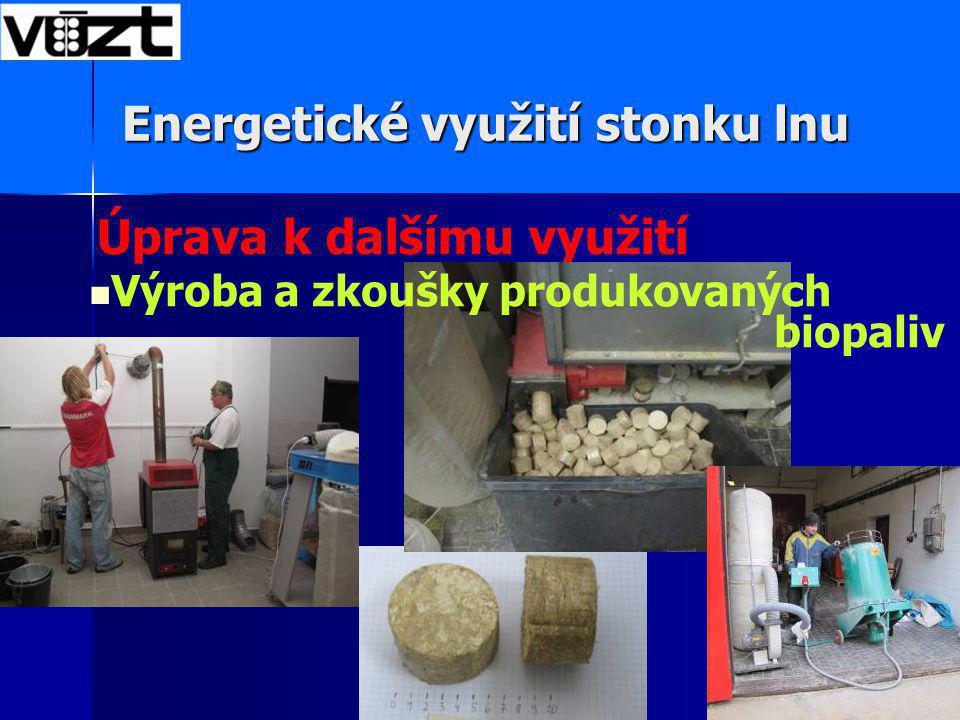 Úprava k dalšímu využití Energetické využití stonku lnu Výroba a zkoušky produkovaných biopaliv