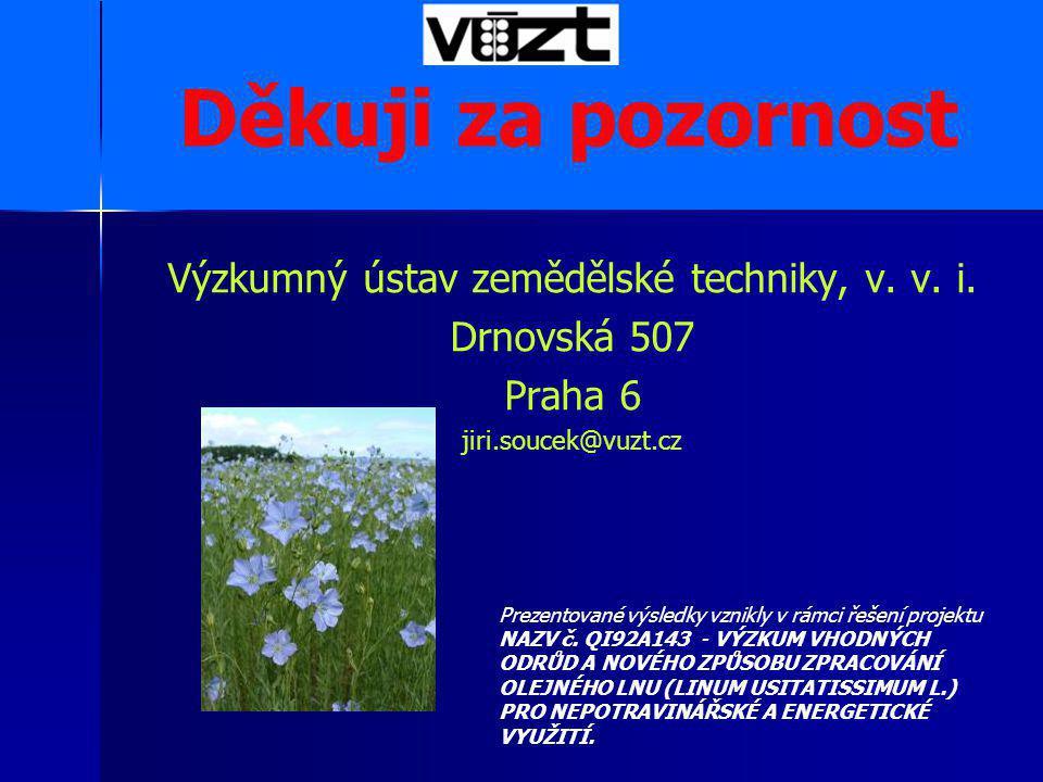 Výzkumný ústav zemědělské techniky, v. v. i. Drnovská 507 Praha 6 jiri.soucek@vuzt.cz Děkuji za pozornost Prezentované výsledky vznikly v rámci řešení