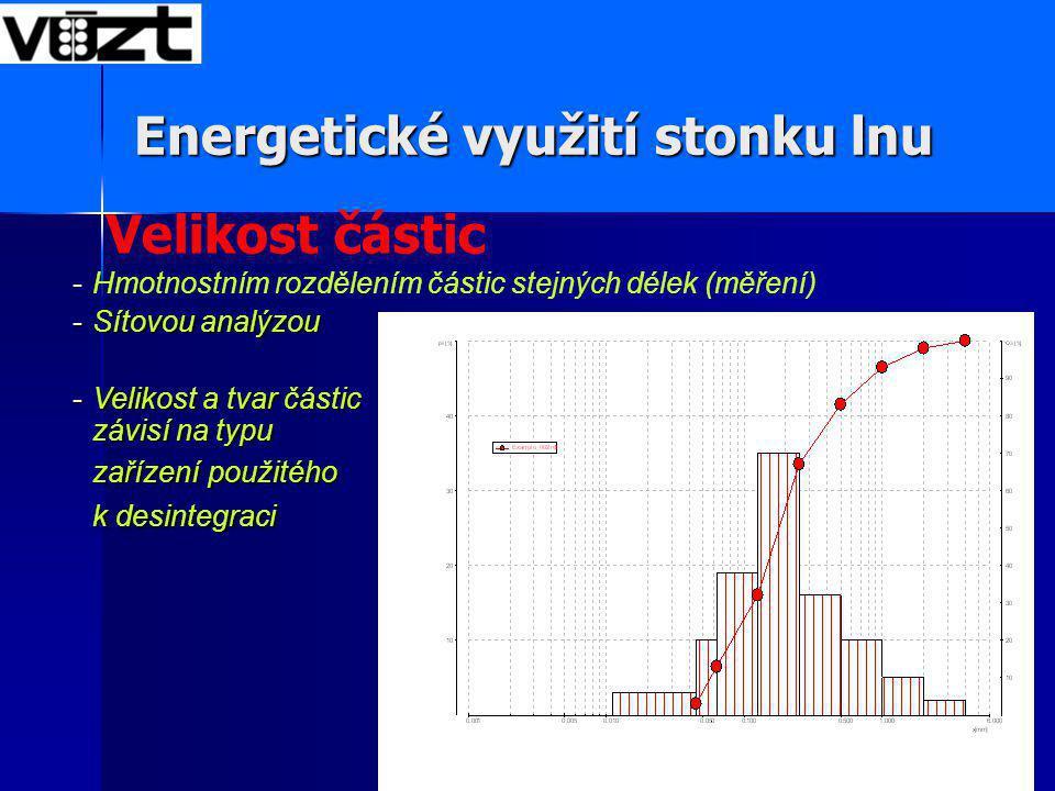 Velikost částic -Hmotnostním rozdělením částic stejných délek (měření) -Sítovou analýzou -Velikost a tvar částic závisí na typu zařízení použitého k desintegraci Energetické využití stonku lnu