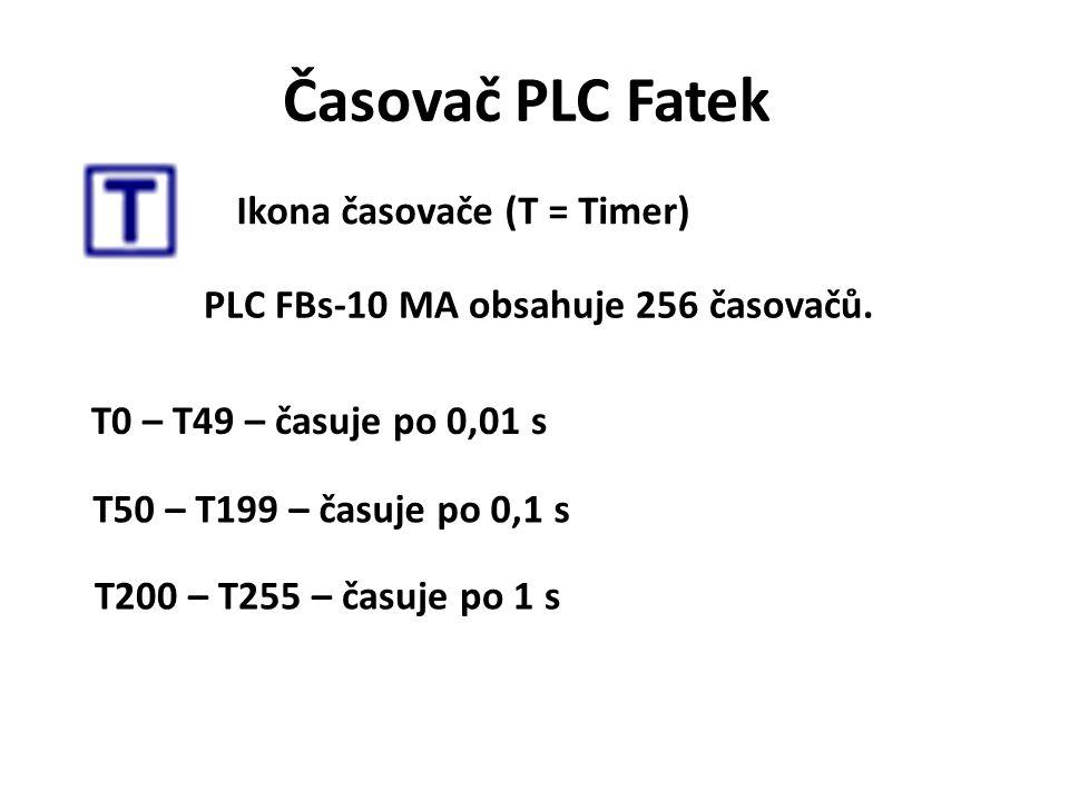 Časovač PLC Fatek Ikona časovače (T = Timer) PLC FBs-10 MA obsahuje 256 časovačů. T0 – T49 – časuje po 0,01 s T50 – T199 – časuje po 0,1 s T200 – T255