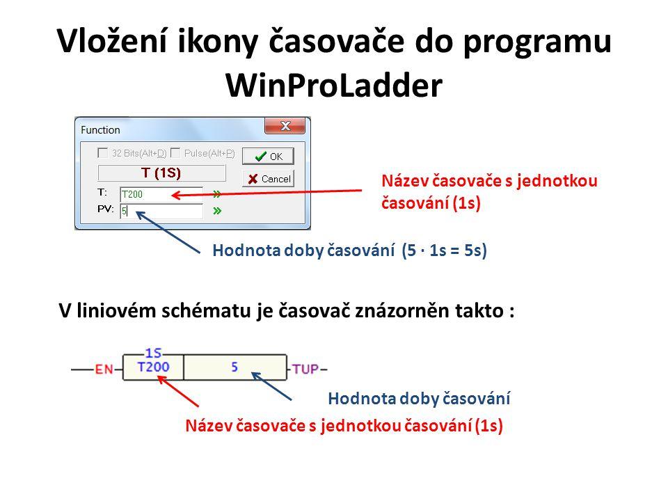 Vložení ikony časovače do programu WinProLadder Název časovače s jednotkou časování (1s) Hodnota doby časování (5 · 1s = 5s) V liniovém schématu je ča