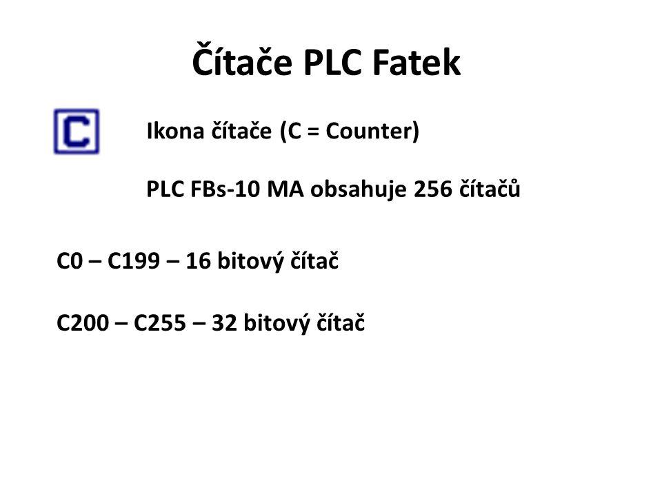 Čítače PLC Fatek Ikona čítače (C = Counter) PLC FBs-10 MA obsahuje 256 čítačů C0 – C199 – 16 bitový čítač C200 – C255 – 32 bitový čítač
