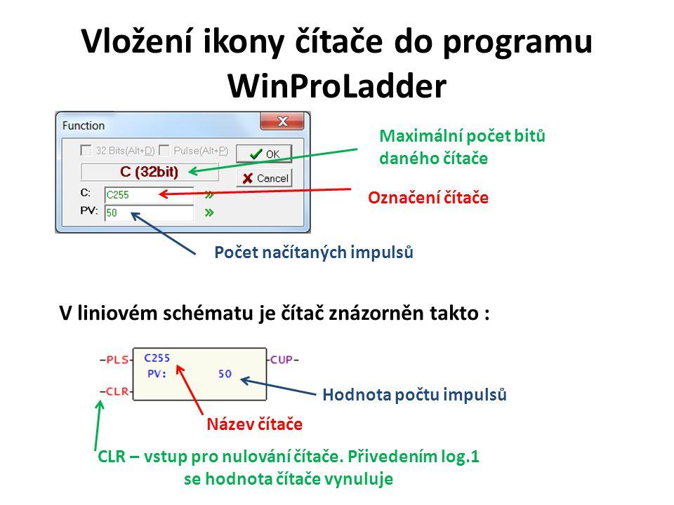 Vložení ikony čítače do programu WinProLadder Označení čítače Počet načítaných impulsů V liniovém schématu je čítač znázorněn takto : Název čítače Hod