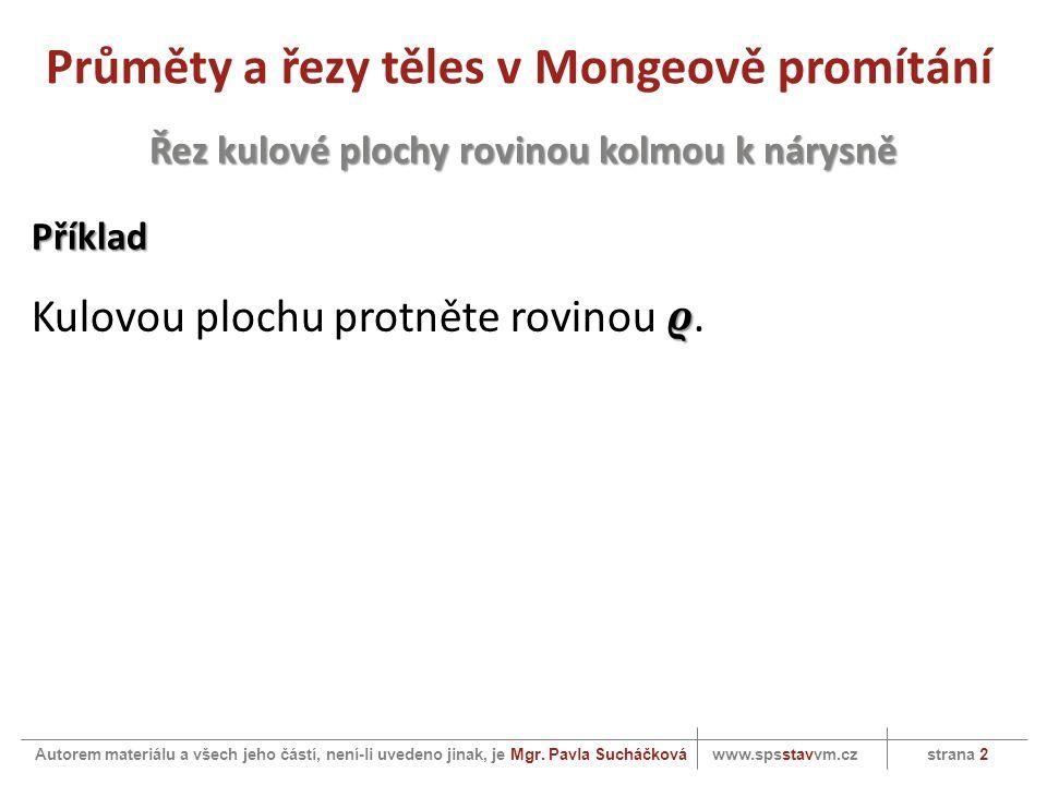 Průměty a řezy těles v Mongeově promítání www.spsstavvm.cz strana 2 Autorem materiálu a všech jeho částí, není-li uvedeno jinak, je Mgr.