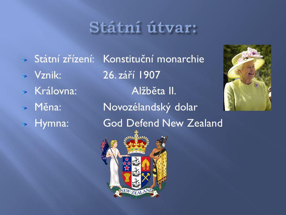 Státní zřízení:Konstituční monarchie Vznik:26.září 1907 Královna:Alžběta II.