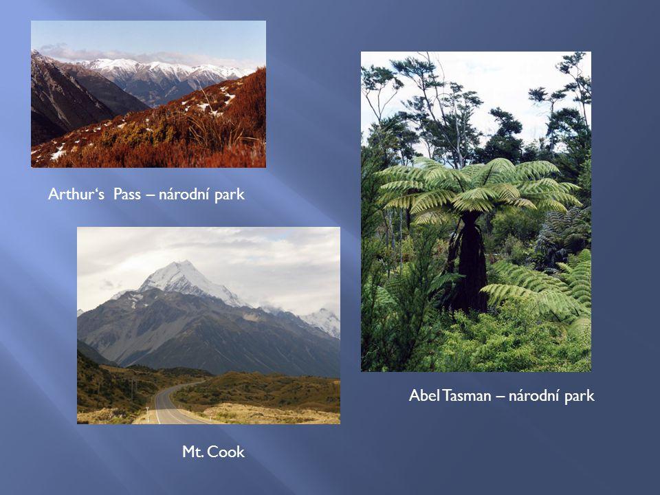 Arthur's Pass – národní park Abel Tasman – národní park Mt. Cook