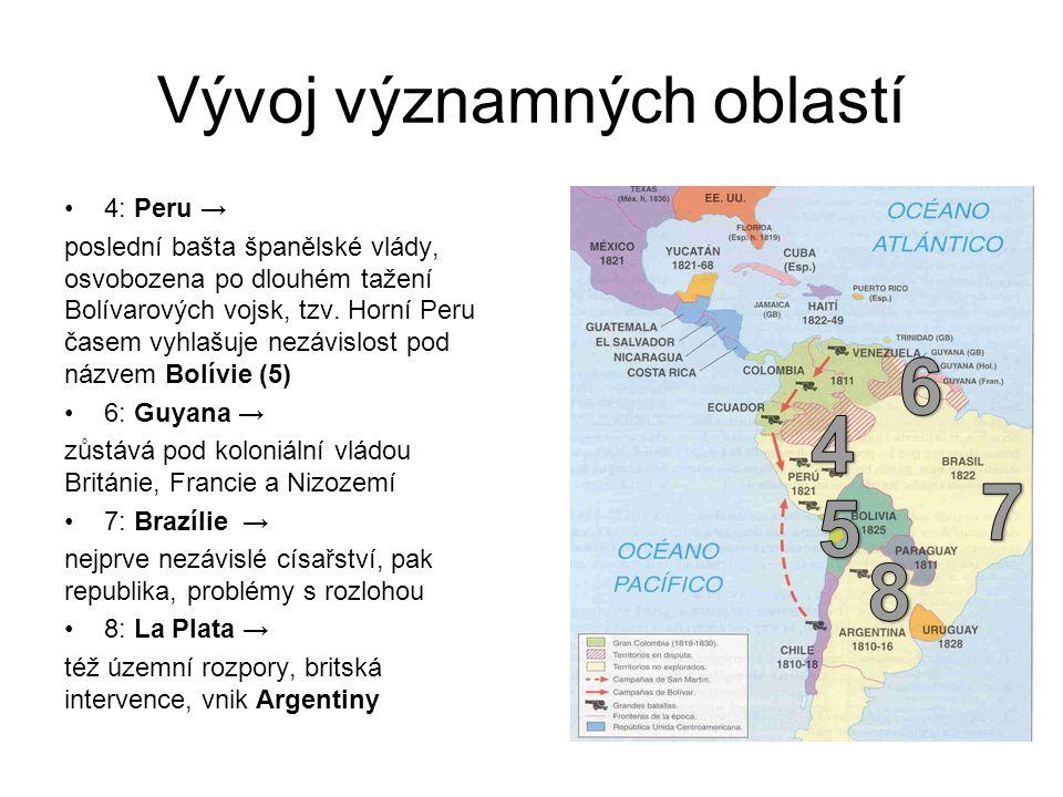 Vývoj významných oblastí 4: Peru → poslední bašta španělské vlády, osvobozena po dlouhém tažení Bolívarových vojsk, tzv. Horní Peru časem vyhlašuje ne