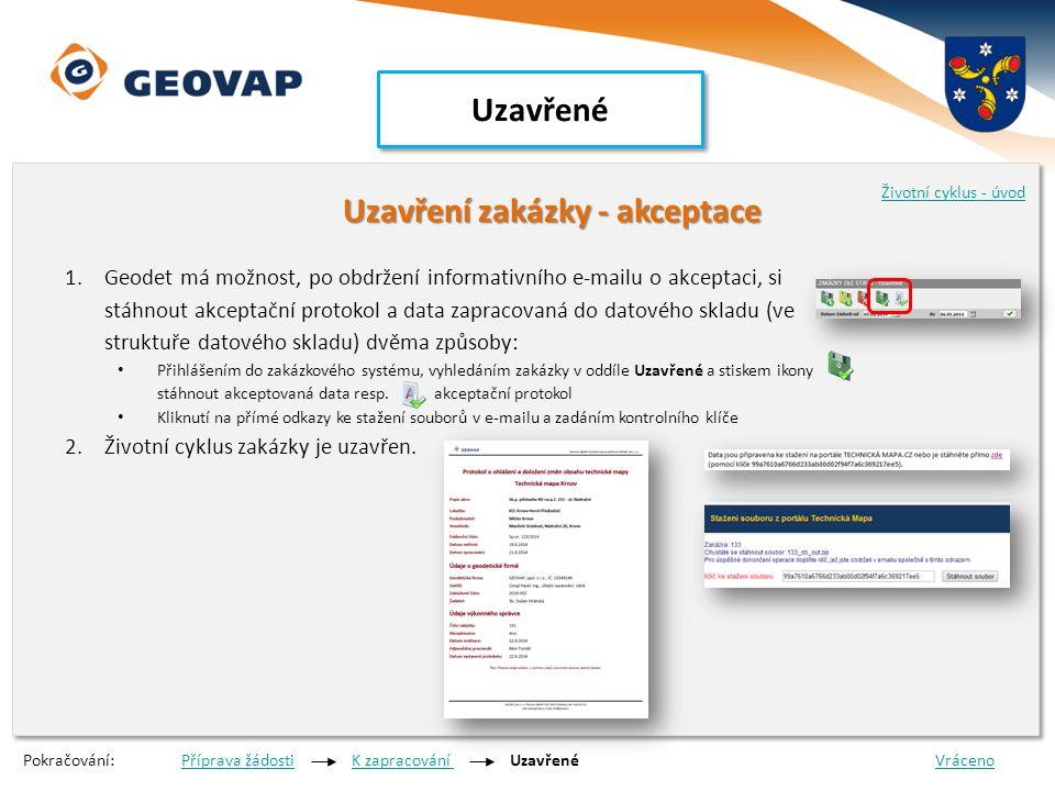 Uzavřené Uzavření zakázky - akceptace Uzavření zakázky - akceptace 1.Geodet má možnost, po obdržení informativního e-mailu o akceptaci, si stáhnout ak