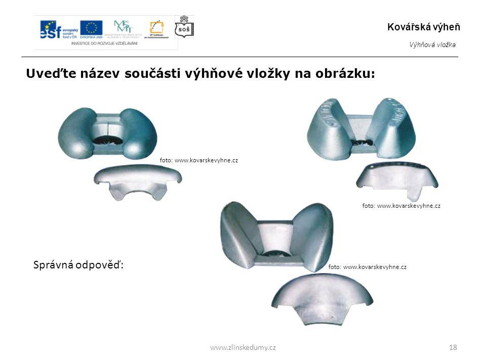 Ochranné klíny – různé velikosti www.zlinskedumy.cz18 Kovářská výheň Výhňová vložka foto: www.kovarskevyhne.cz Uveďte název součásti výhňové vložky na