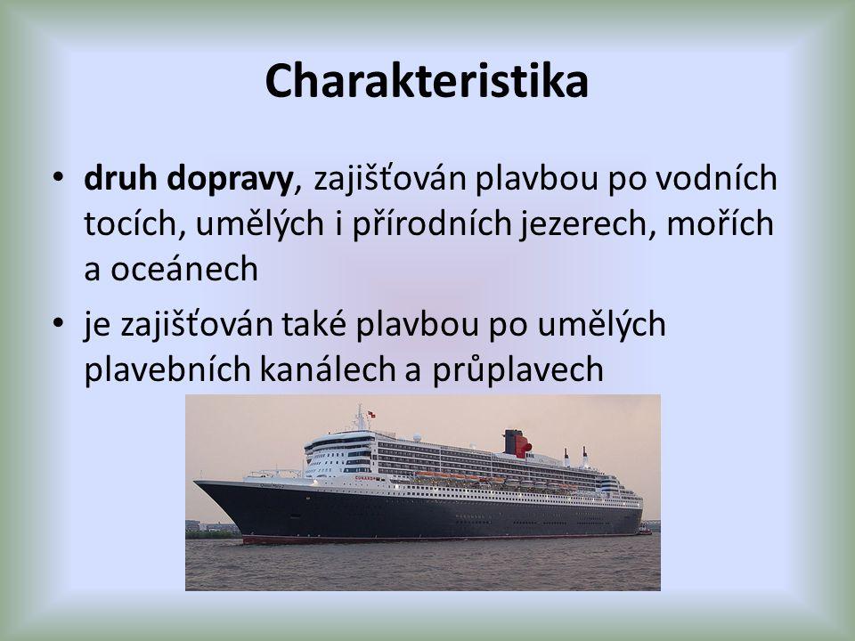Charakteristika druh dopravy, zajišťován plavbou po vodních tocích, umělých i přírodních jezerech, mořích a oceánech je zajišťován také plavbou po umělých plavebních kanálech a průplavech