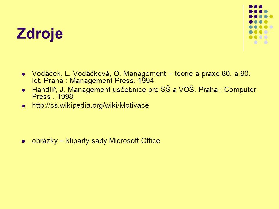 Zdroje Vodáček, L. Vodáčková, O. Management – teorie a praxe 80.