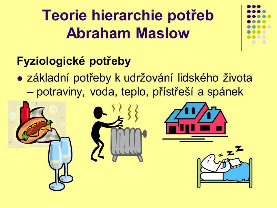 Teorie hierarchie potřeb Abraham Maslow Fyziologické potřeby základní potřeby k udržování lidského života – potraviny, voda, teplo, přístřeší a spánek