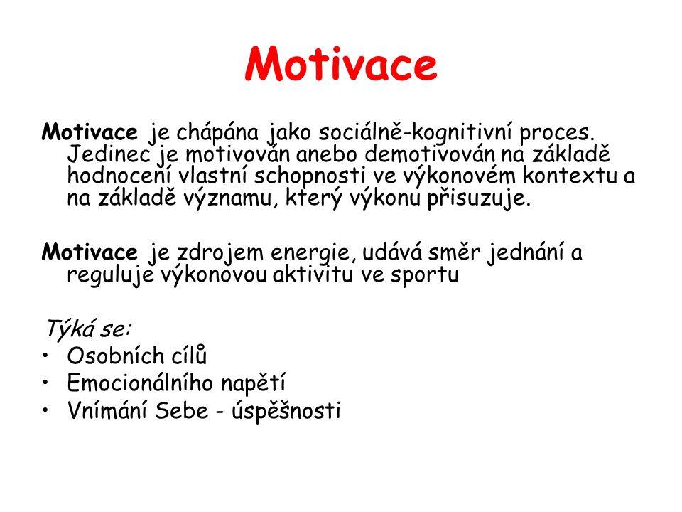 Motivace Motivace je chápána jako sociálně-kognitivní proces.
