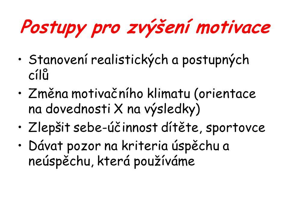 Postupy pro zvýšení motivace Stanovení realistických a postupných cílů Změna motivačního klimatu (orientace na dovednosti X na výsledky) Zlepšit sebe-účinnost dítěte, sportovce Dávat pozor na kriteria úspěchu a neúspěchu, která používáme